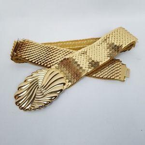 Vintage gold fish scale elastic cinch belt OS
